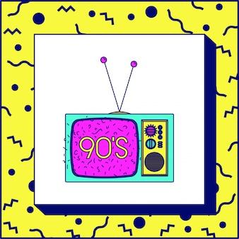 90s, etiqueta, com, retro, tv