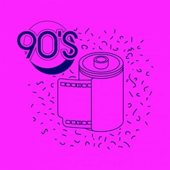 90s rótulo retro com rolo fotográfico