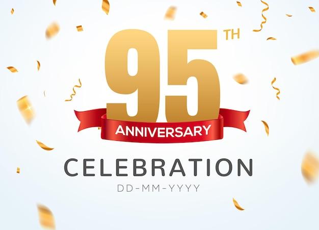 95 números de aniversário de ouro com confete dourado. modelo de festa de evento de celebração de 95º aniversário.