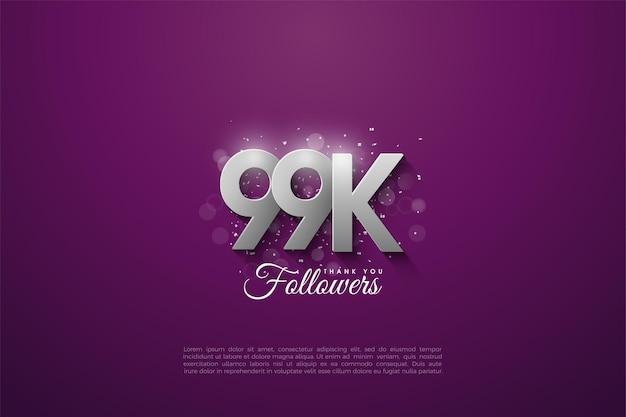 99 mil seguidores com algarismos de prata 3d