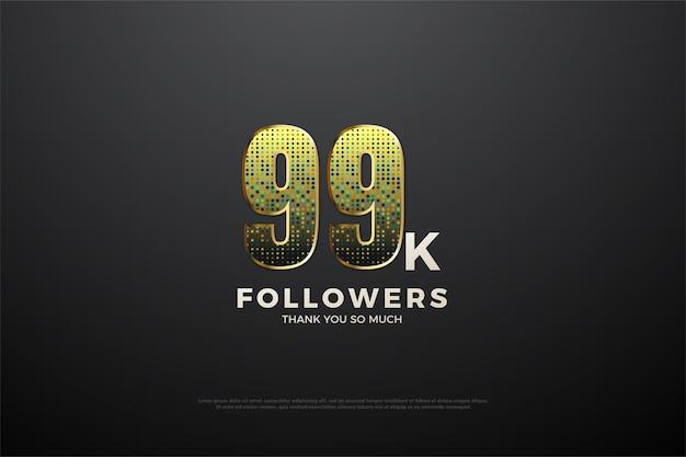 99 mil seguidores com belos números brilhantes