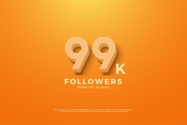 99 mil seguidores com números animados