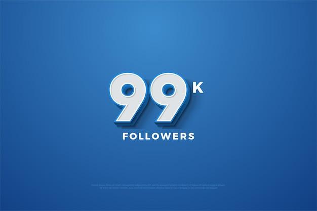 99 mil seguidores com números aparecendo em um fundo azul