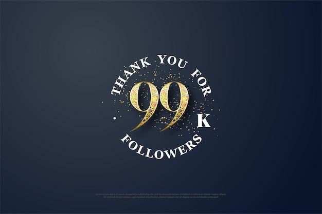 99 mil seguidores com números de glitter