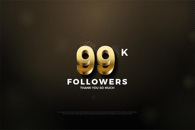 99 mil seguidores com números dourados
