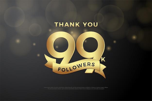 99 mil seguidores com números e fita