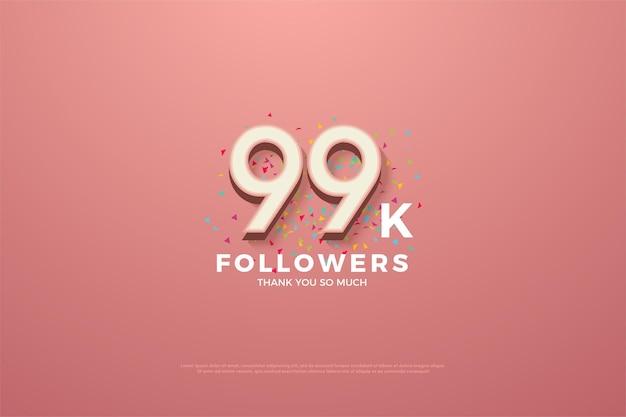 99 mil seguidores com números e respingos de recorte de fita colorida