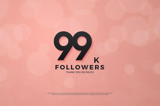 99 mil seguidores com números em fundo rosa