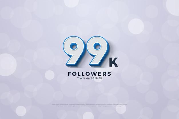 99 mil seguidores com números em negrito e com borda azul em relevo