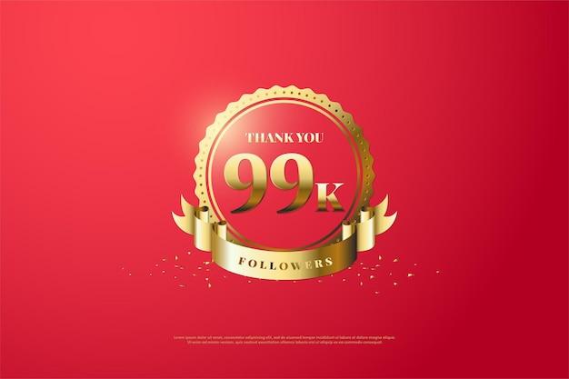 99 mil seguidores com números estão em símbolos dourados