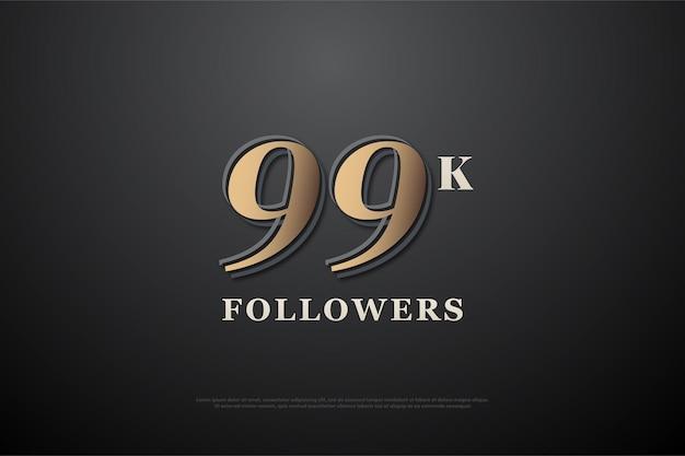 99 mil seguidores com números marrons em design simples