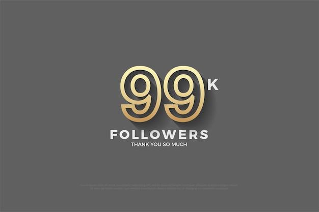 99 mil seguidores com números marrons