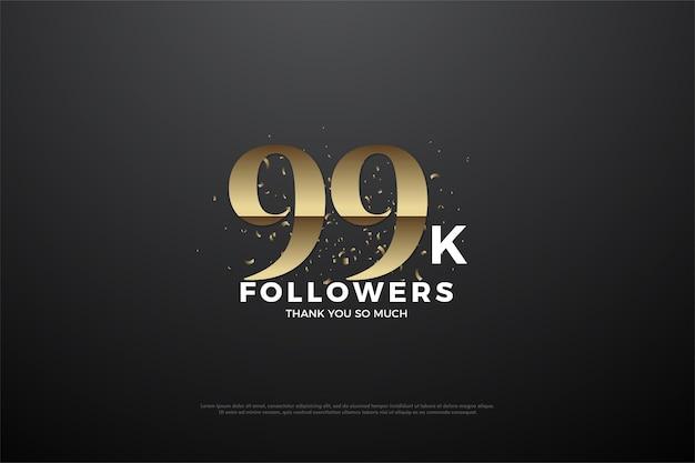 99 mil seguidores com números planos