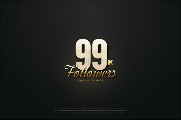 99 mil seguidores com números salpicados de ouro brilhante