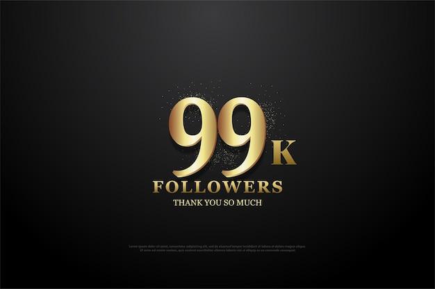 99 mil seguidores com um design de número plano