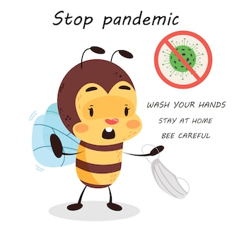 A abelha está em quarentena no fundo isolado branco. pare de pandemia para crianças. coronavírus assina aviso para crianças