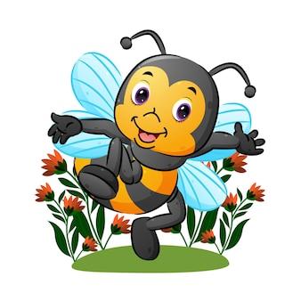 A abelha fofa com a asa transparente está dançando no jardim da ilustração