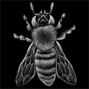 A abelha para design de camisetas ou roupas exteriores. esse desenho seria bom para fazer no tecido ou tela preta.