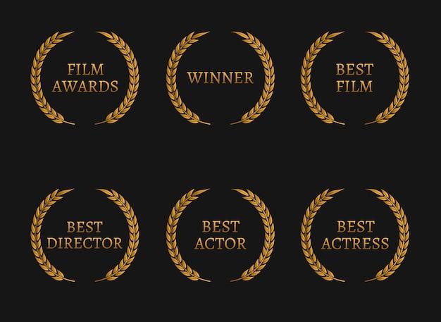A academia de cinema premia os vencedores e as coroas de ouro do melhor indicado em fundo preto.