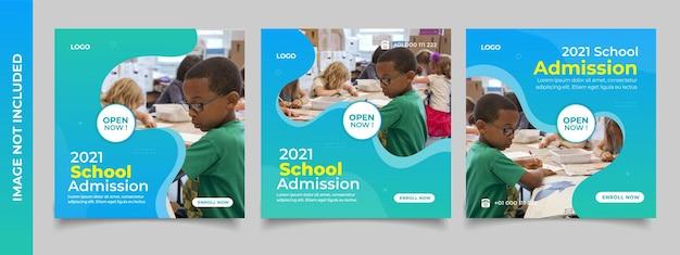 A admissão escolar está aberta agora, postagem em mídia social e modelo de banner na web