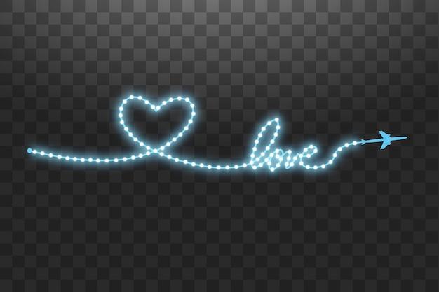 A aeronave e sua trilha na forma de uma faixa de led brilhante em forma de coração transparente.