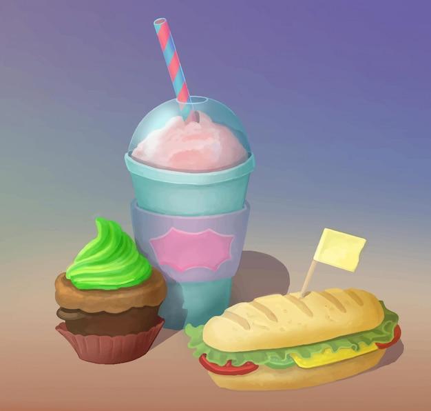 A agitação de leite, o sanduíche e o queque entregam o alimento de fast food tirado. cartaz de comida