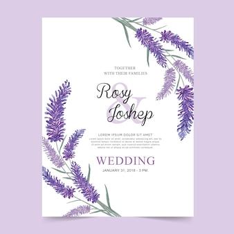 A alfazema floresce o cartão de casamento da aguarela.
