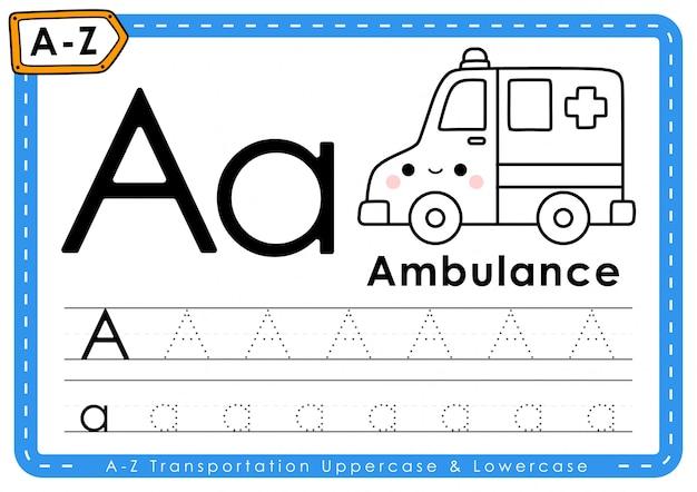 A - ambulância: planilha de letras de rastreamento de transporte az do alfabeto