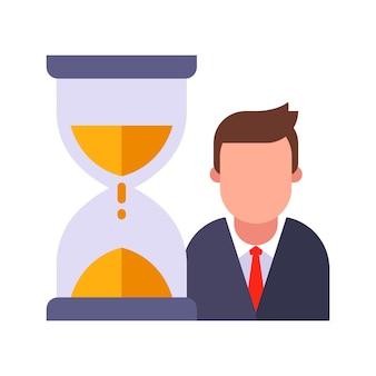 A ampulheta conta o tempo do gerente.