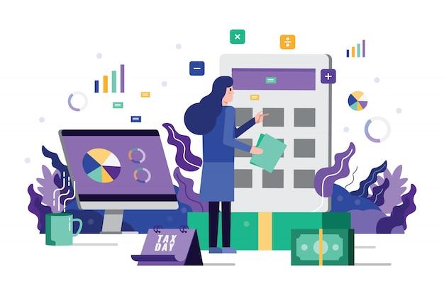 A análise da mulher de negócio e calcula o imposto financeiro na máquina da calculadora.