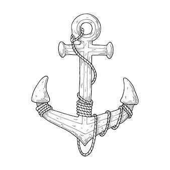 A âncora é pintada com tinta e enrolada em corda.