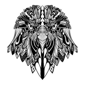 A animação da arte do doodle da bela ilustração do pássaro cheia de ornamentos