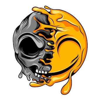 A animação da tatuagem do crânio para a mudança do sorriso falso