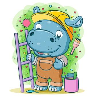 A animação do hipopótamo pintor está segurando a escada roxa