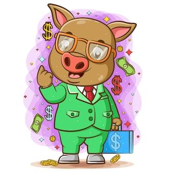 A animação do porco marrom usa os óculos e traz a bolsa azul de dinheiro