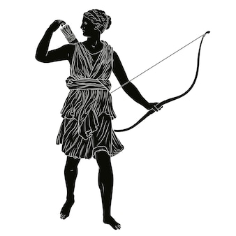 A antiga deusa grega da caça artemis com um arco e flecha nas mãos.