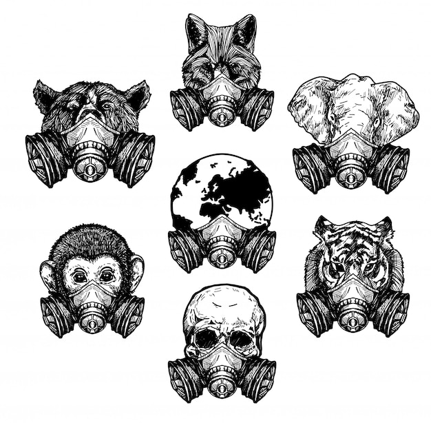 A arte da tatuagem do crânio do elefante lobo tigre usava uma máscara protetora, desenhando e desenhando em preto e branco