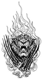 A arte da tatuagem do tigre pulando a mão desenhando e esboçando em preto e branco