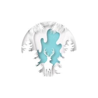 A arte de papel da paisagem dos cervos e do inverno tempera e conceito do feliz natal.