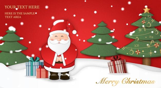 A arte em papel relevo do papai noel apresenta presentes com fundo de terra de neve de árvore de natal. feliz natal e feliz ano novo, ilustração.
