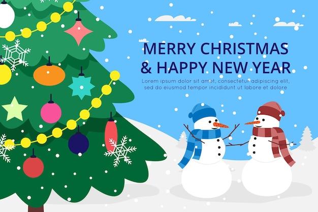 A árvore de natal e ano novo é decorada com brinquedos, bolas e guirlandas e ao lado dela estão dois alegres bonecos de neve e neve sobre um fundo azul. imagem plana vetorial para cartão postal, plano de fundo para página de destino