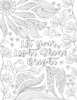 A árvore deixa o desenho de linha espalhado em torno da nota de vibração positiva. desenho de sol brilhando sobre a mensagem inspiradora, cercada por belas vinhas e flores.