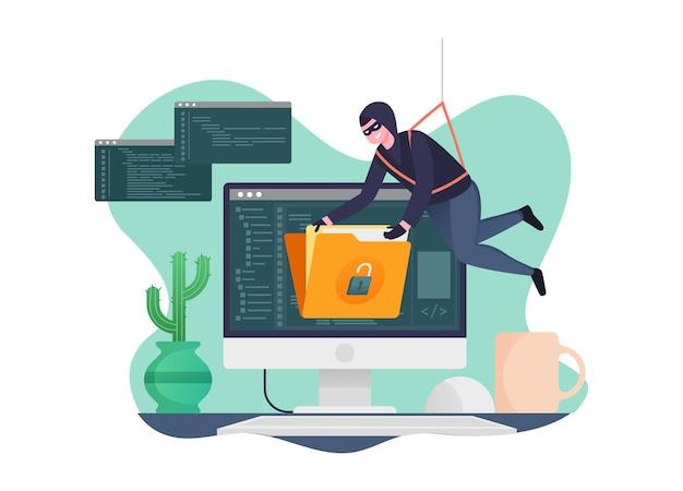 A atividade do hacker rouba dados dos computadores