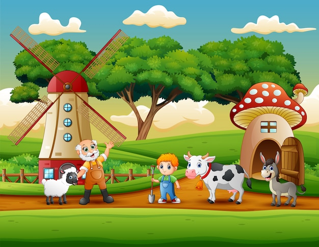 A atividade dos agricultores na fazenda
