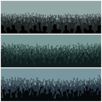 A audiência com silhueta das mãos levantou o festival e o concerto de música que fluem para baixo de cima do vetor da fase.