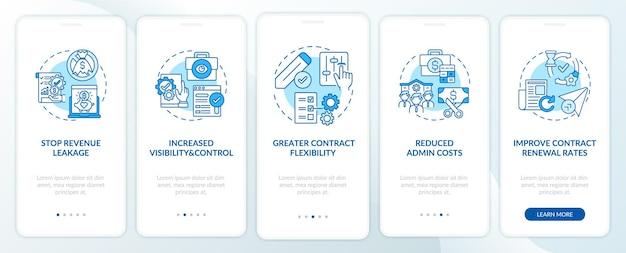 A automação do gerenciamento de contratos beneficia a tela da página do aplicativo móvel com conceitos. aumente as etapas de passo a passo de valor. ilustrações do modelo de interface do usuário