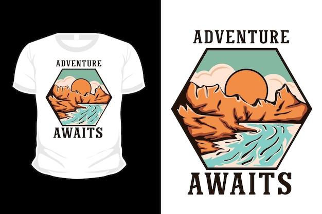 A aventura aguarda o design da camisa da ilustração do amanhecer