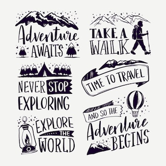 A aventura começa com letras de acampamento