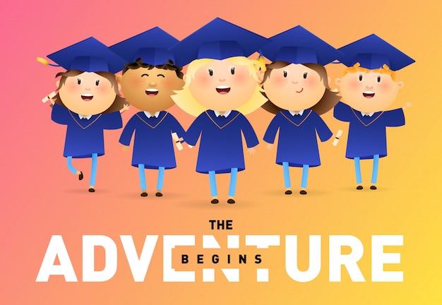 A aventura começa design de banner