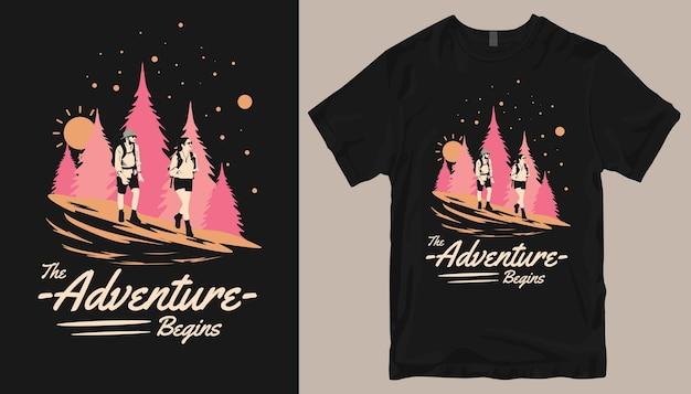 A aventura começa, o design da camiseta adventure.